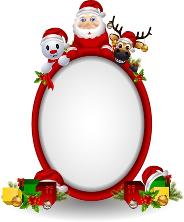 cartoon santa claus ,deer and snowman with blank sign Stock Vector - 15947428