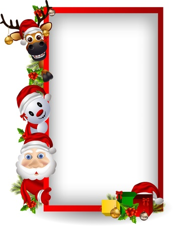 december: cartoon santa claus ,deer and snowman with blank sign