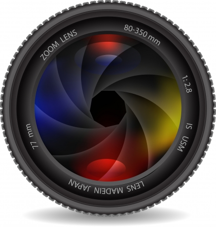 shutters: camera  lens with shutter Illustration