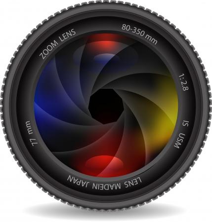 lente de la cámara con el obturador Ilustración de vector