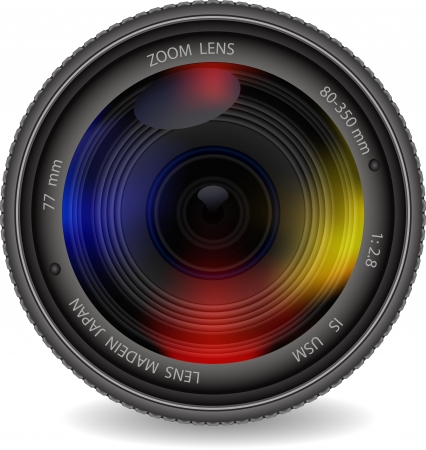 telephoto: camera  lens with shutter Illustration