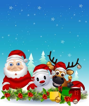 santa claus ,deer and snowman  Vector