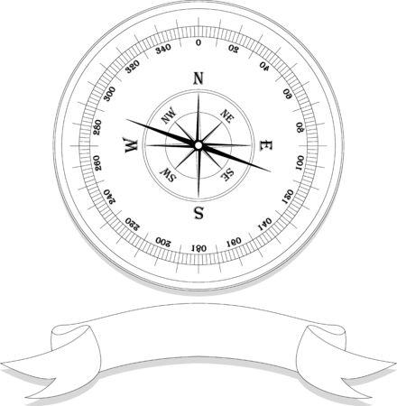 compas de dibujo: compas de época con la muestra en blanco Vectores