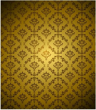 seamless damask: Papel pintado del damasco sin fisuras con el color oro