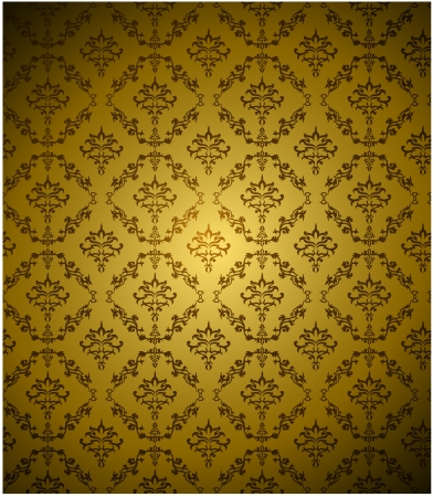 gold leafs: Seamless Damask wallpaper with gold color