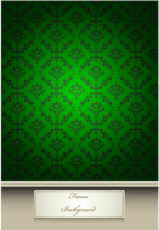 Seamless Damask wallpaper with green color Vector