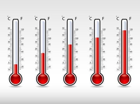 high temperatures: thermometers at different levels