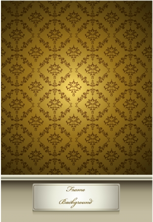 Seamless Damask wallpaper with gold color Vector