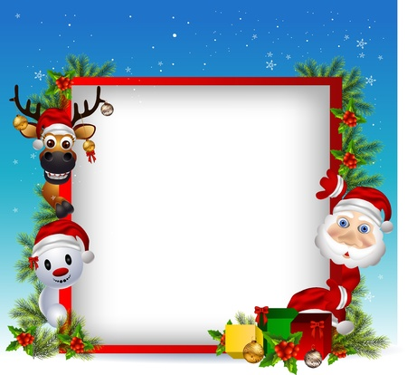 vector illustration of santa claus ,deer and snowman with blank sign Vector
