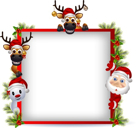 vector illustration of santa claus ,deer and snowman with blank sign Stock Vector - 16195836