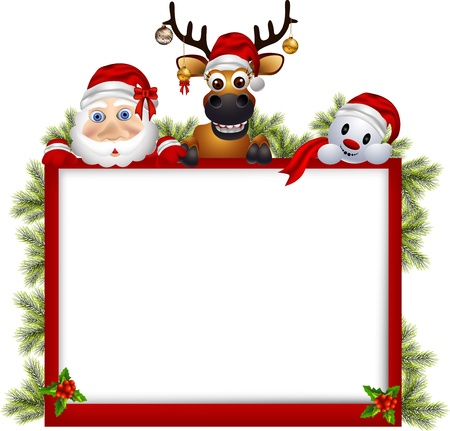 red deer: vector illustration of santa claus ,deer and snowman with blank sign