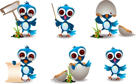 blue bird: cute blue bird family cartoon set Illustration