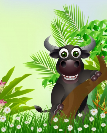spanish bull: cute buffalo cartoon smiling with tropical forest background Illustration
