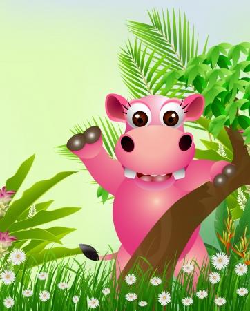 hipopotamo caricatura: lindo historieta hipop�tamo sonriente con el fondo del bosque tropical