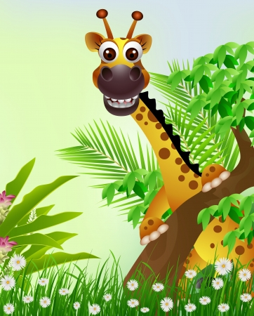 cute giraffe cartoon smiling with tropical forest background Vector