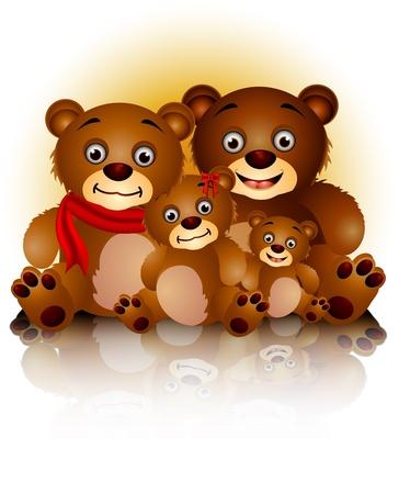 familia animada: familia de los osos felices en armonía y amor Vectores