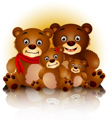 friend hug: happy bear family in harmony and love