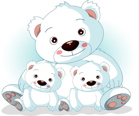 mother polar bear with her sons in love Vector