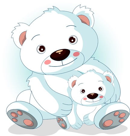 osos navide�os: madre oso polar con sus hijos en el amor Vectores