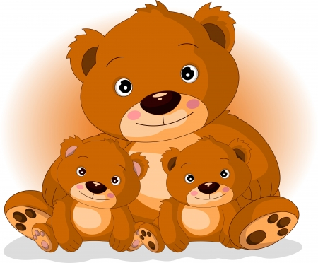 mother brown bear with her sons in love Illustration