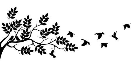 bird: 조류의 비행과 나무 실루엣 일러스트