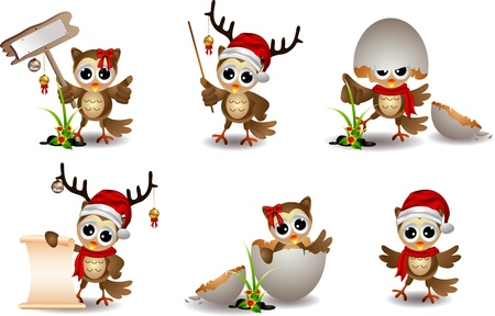 cute owl christmas cartoon set Stock Vector - 16272474