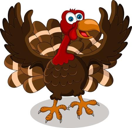 turkey thanksgiving: pavo feliz de dibujos animados Vectores
