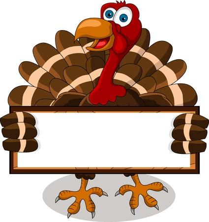 pilgrim hat: happy turkey cartoon with blank board