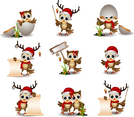 cute owl christmas cartoon set Vector