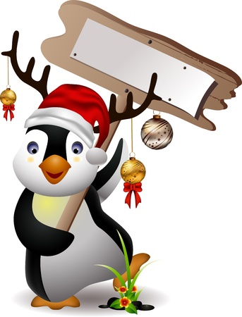 christal: cute penguin christmas cartoon with blank board