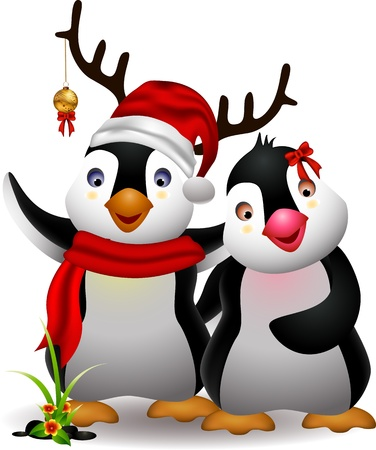 winter flower: harmony of cute penguin cartoon couple