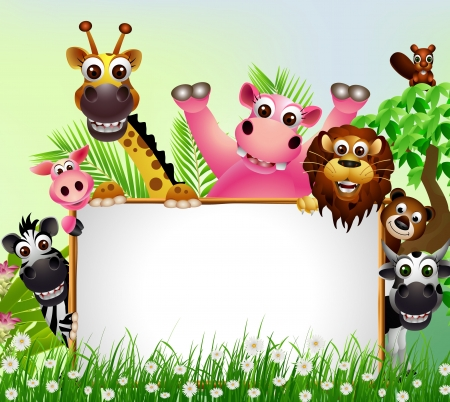 selva caricatura: Cartoon Animal salvaje africano con la muestra en blanco