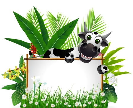 funny cow with blank sign and tropical forest background Vector