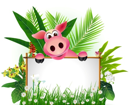 funny pig with blank sign and tropical forest background Stock Vector - 16387074