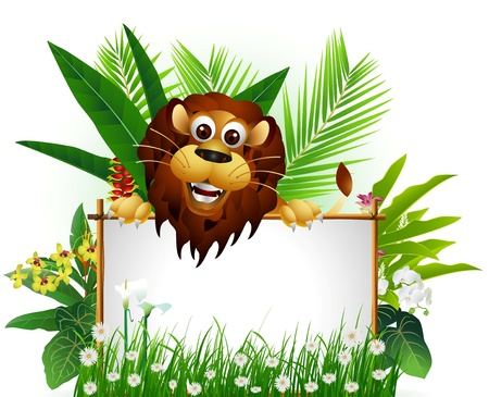 funny brown lion with blank sign and tropical forest background Illustration