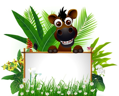 bushel: funny brown horse with blank sign and tropical forest background