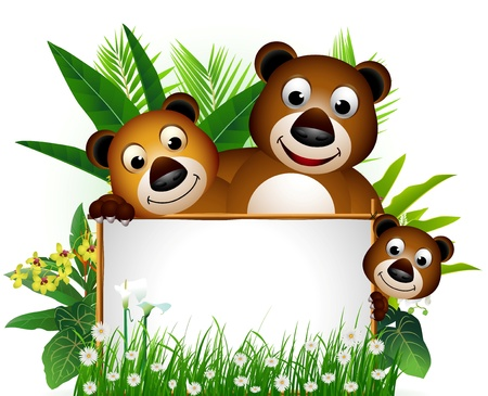 funny brown bear family with blank sign and tropical forest background