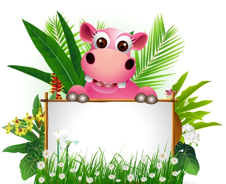 hipopotamo caricatura: gracioso hipopótamo con la muestra en blanco y fondo del bosque tropical