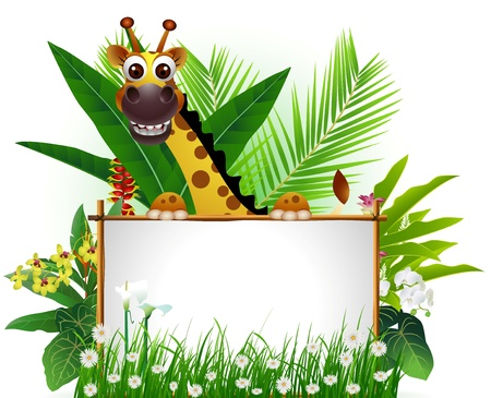 stupid body: funny giraffe with blank sign and tropical forest background Illustration