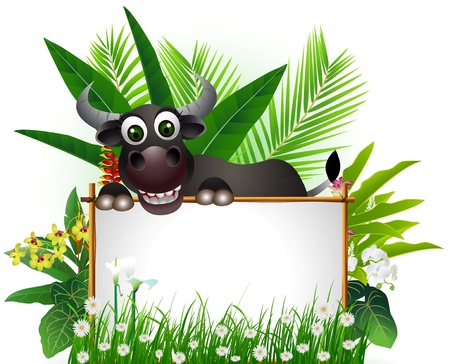 funny buffalo with blank sign and tropical forest background Illustration