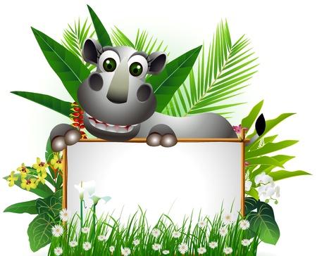 빈 기호와 열대 숲 배경으로 재미 코뿔소
