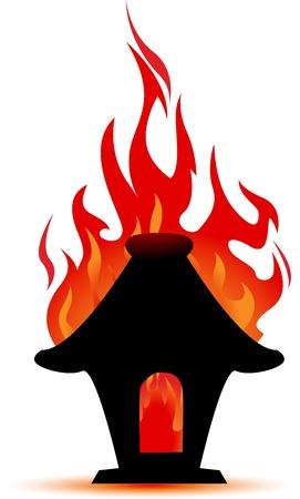 incendio casa: ilustración de fuego quema casa Vectores