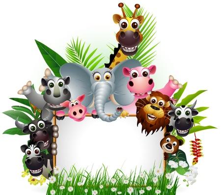 mandrill: Cartone animato animale selvatico africano con il segno in bianco