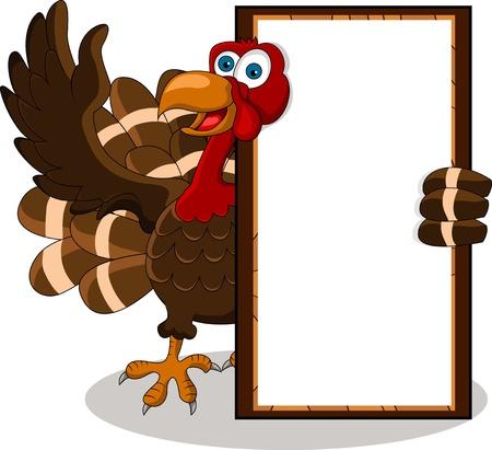 turkey thanksgiving: dibujos animados pavo feliz con la tarjeta en blanco