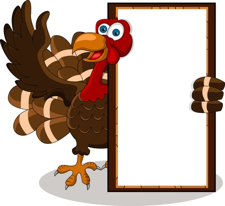anthropomorphic: happy turkey cartoon with blank board