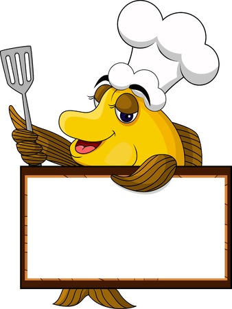 seafood dinner: funny yellow cartoon cook fish with blank sign Illustration