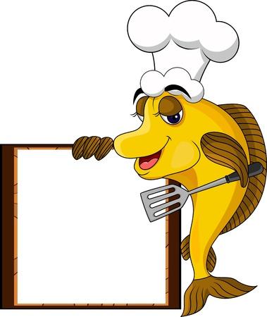 divertido de la historieta amarilla pescar cocinero con cartel en blanco