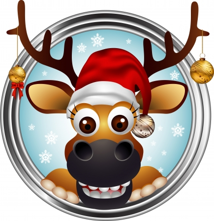 illustration of christmas deer head cartoon Vector
