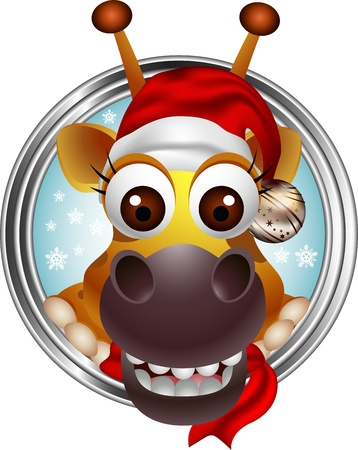 cute christmas giraffe head cartoon Vector