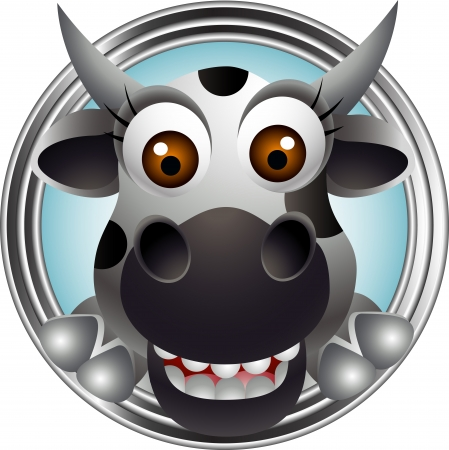cute cow head cartoon Vector